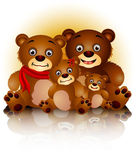 Happy cute bears family in harmony — 图库矢量图片