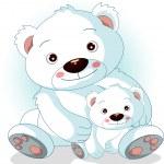 mãe urso polar com seus filhos — Vetorial Stock