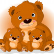 Mother brown bear with her sons — Stock Vector