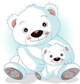 她的儿子与母亲北极熊 — 图库矢量图片