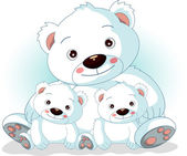 Mother polar bear with her sons — Stock Vector
