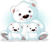 Onun oğlu ile annesi kutup ayısı — Stok Vektör