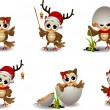 Cute owl christmas cartoon set — Stock Vector #14840613