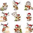 Cute owl christmas cartoon set — Stock Vector