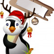 Cute penguin christmas cartoon with blank board — Stock Vector