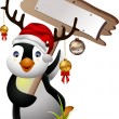 Royalty-Free Stock Vector Image: Cute penguin christmas cartoon with blank board