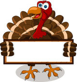 Happy turkey cartoon with blank board — Cтоковый вектор