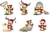 Cute owl christmas cartoon set — Stock Vector