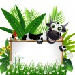 Funny cow with blank sign — Stock Vector #14896311