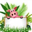 Funny pig with blank sign — Stock Vector