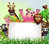 Divertidos animales de dibujos animados con signo en blanco — Vector de stock
