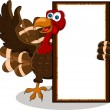 Stock Vector: Turkey cartoon with blank board