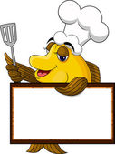Funny yellow cartoon cook fish with blank sign — Stock Vector