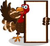 Turkey cartoon with blank board — Stock Vector