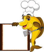 Funny yellow cartoon cook fish with blank sign — Cтоковый вектор