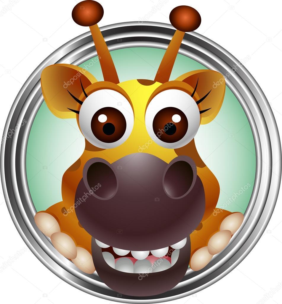 Cartone animato testa di giraffa carino — vettoriali stock