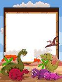 Dibujos animados de dinosaurios con signo en blanco — Vector de stock