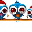 Cute chritsmas blue birds family - Stock vektor