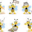 Cute bee cartoon collection — Stock Vector