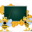Happy bee cartoon with blank board — Stock Vector