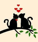 Verhaal van de liefde van de kat — Stockvector