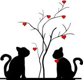 Silhouette of a cat in the tree of love — Vector de stock