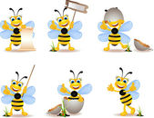Cute bee cartoon collection — Stock vektor