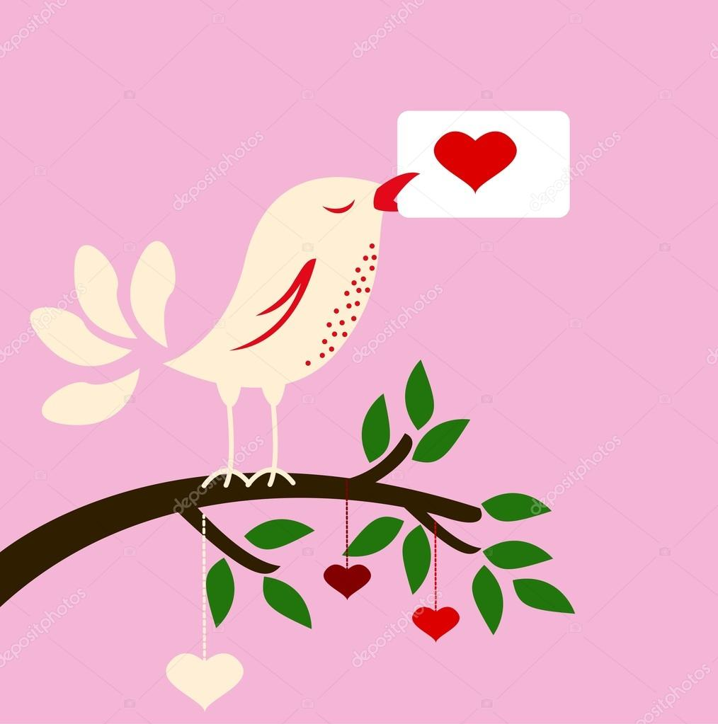 Beauty illustration of bird with love card for you design — Vettoriali Stock  #16622879