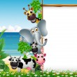 Wild African animal cartoon with blank sign and beach background - Stock Vector