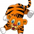 Cute young tiger cartoon expression — Stock Vector
