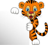 Cute young tiger cartoon with blank sign — Stock Vector