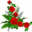 Royalty-Free Stock Vectorielle: Red roses with leaves background