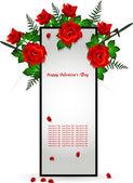 Frame decoratie met rode roos — Stockvector