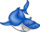Angry blue shark — Stock Vector