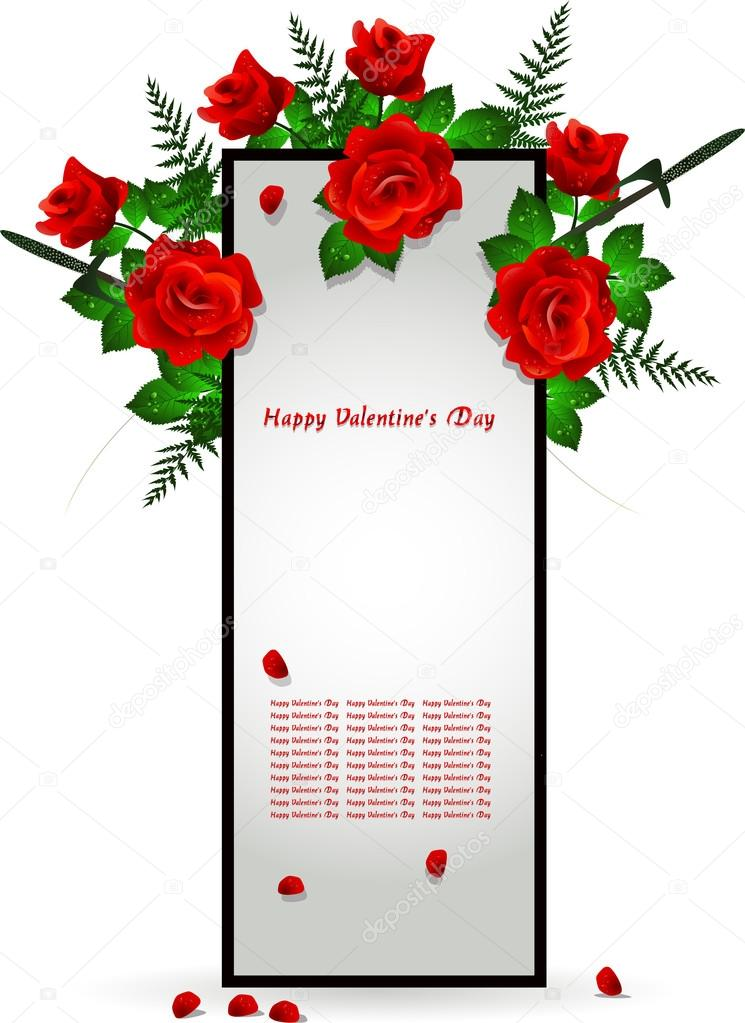 Vector illustration of frame decoration with red rose  Stock Vector #17605633