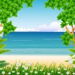 Forest and beach background - Stock Vector