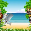 Funny animals cartoon with tropical beach background — Stockvectorbeeld