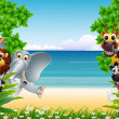 Funny animals cartoon with tropical beach background - Stock Vector