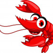 Funny red shrimp cartoon - Stock Vector