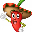 Chili pepper cartoon thumbs up - Stock Vector