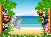 Animales divertidos dibujos animados con el fondo de playa tropical — Vector de stock