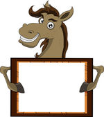 Horse with blank sign — Stock Vector