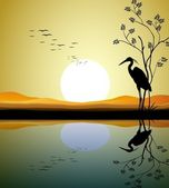Heron silhouette on lake — Stock Vector