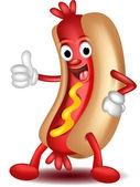 Hot dog cartoon thumbs up — Stock Vector