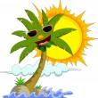 Royalty-Free Stock Vector Image: Cartoon palm tree and sun