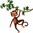 Cute monkey on a tree - Stock Vector