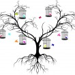 Tree silhouette with color birds - Stok Vektr