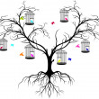Tree silhouette with color birds -  