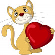 Royalty-Free Stock Vector Image: Cat holding love heart