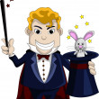 Royalty-Free Stock Imagem Vetorial: magician pulls out a rabbit from a hat